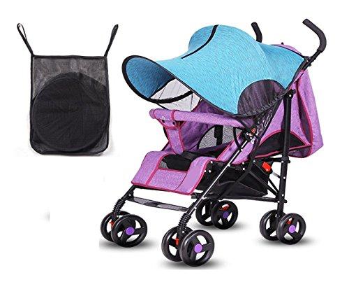 Kinderwagen Sun Shade UV-Schutz Cover, Verdunkelungsrollo, Baby Kinderwagen Windproof Regenschutz, Universal für Kinderwagen, Kinderwagen, Zip Up Window & Mesh, 80 * 70cm - ein Beutel kostenlos, blau Universal Pop-up-shade