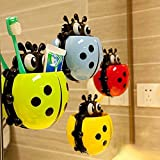 #2: Rian's Online Beetle Shaped Cartoon Ladybird Multi-Purpose Powerful Suction Toothpaste Toothbrush Organizer Holder for kids (Random Color)