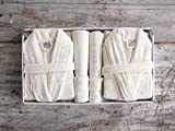 HIS & Hers 11pièces Famille Peignoir et serviette de bain serviette de bain dans coffret cadeau–Dentelle Ivoire
