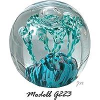 my-gschenk Bola de Ensueño de Pisapapeles Grande: Diseño Turquesa de Razón roja con Hilos Azul/Verde Claro y Burbujas