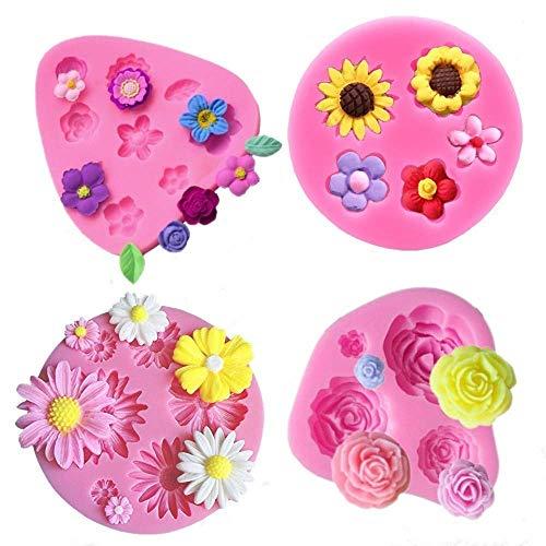 Fondant-Kuchenformen, Blumen-Design, Gänseblümchen, Rosenblume, Chrysanthemenblume und kleine Blumen, Silikonformen für Schokolade, Fondant, Polymerton, Seife, Bastel-Projekte und Kuchendekoration
