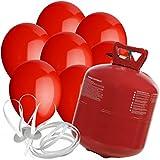50 Luftballons Ø 25 cm Farbe frei wählbar mit Helium Ballon Gas Hochzeit Geburtstag Komplettset (Rot)