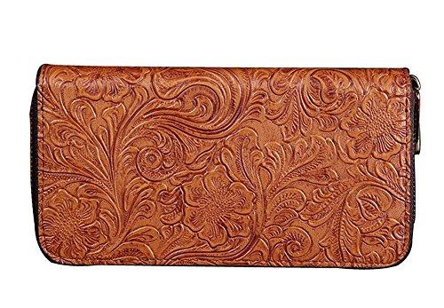H&W Donna Embossed Retro Pelle Frizione Portafogli Oro viola