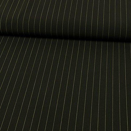 Stoffe Werning Anzugstoff Nadelstreifen schwarz-weiß_Preis Gilt für 0,5 Meter- - Schwarz Nadelstreifen Hosen-anzug