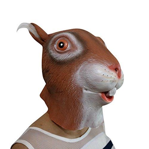 Zombie Eichhörnchen (Squirrel Eichhörnchen mit Haaren in den Ohren Tier Maske mask Kopf aus sehr hochwertigen Latex Material mit Öffnungen an Augen Halloween Karneval Fasching Kostüm Verkleidung für Erwachsene Männer und Frauen)