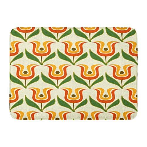 Fußmatten Badteppiche Outdoor/Indoor Fußmatte Bunte 1960er Jahre Retro Floral Green Pattern 1970er Jahre Abstrakte Grundkette Badezimmer Dekor Teppich Badematte -