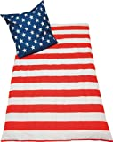 USA Bettwäsche Stars and Stripes Nightflag Amerika 135x200 mit Kissen 80x80cm