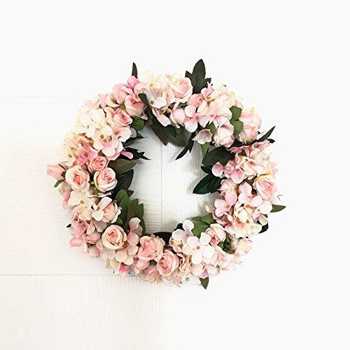 Etbotu Künstliche Rose Rattan Garland Hauptwand Garten Hochzeit Partei Dekor 12-Zol Simulation Blumentürkranz Hochzeit Blumen Blumendeko