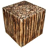 Mywoodkart Wooden Square Shape Stool/Chair Made From Natural Wood Blocks (16 Inch)