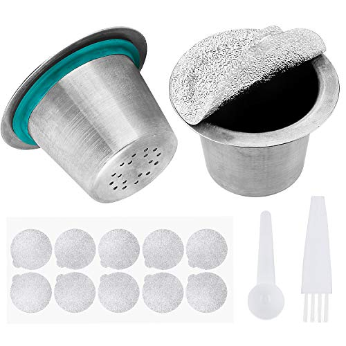 In acciaio inox ricaricabile 304 metallo espresso capsule filtro caffè ricarica capsule pod lavoro per macchina da caffè nespresso 2 pacco (con cucchiaio, guarnizioni e pennello)