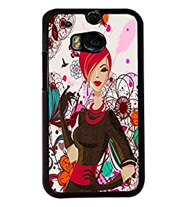 Fuson Butterfly Pattern Girl Back Case Cover for HTC ONE M8 - D4090