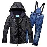 Zjsjacket Skijacke Snow Outfit für Männer Hooded Snowsuit Jacken und Latzhosen Set Wasserdichte Herren Skianzüge Winter Ski Wear Clothes