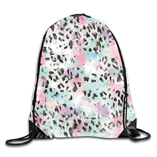 HLKPE Colorful Leopard Tiger Zebra Print Cute Gym Drawstring Bags Travel Backpack Tote School ()