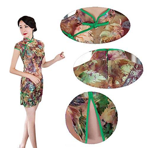 Haodasi Frauen Jahrgang Chinesisch Traditionell Leinen Seide Cheongsam Kurzarm Blumen gedruckt Qipao Kleid 01#