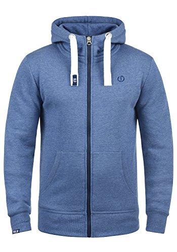 !Solid Benn High-Neck Herren Sweatjacke Kapuzenjacke Hoodie Mit Kapuze Reißverschluss Und Fleece-Innenseite, Größe:XL, Farbe:Faded Blue Melange (1542M)