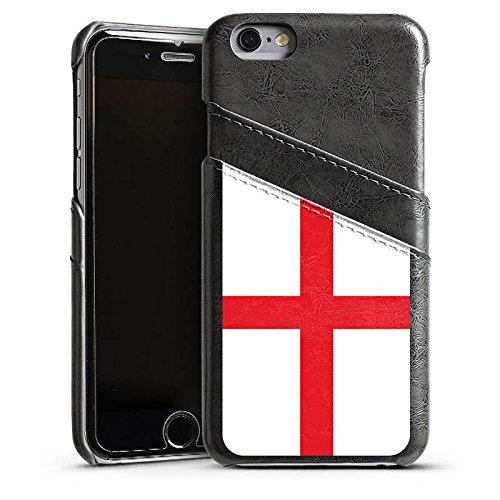 Apple iPhone 5s Housse Étui Protection Coque Angleterre Drapeau Ballon de football Étui en cuir gris