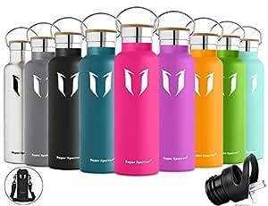 Super Sparrow doppia parete in acciaio inox coibentato bottiglia di acqua - 500ml & 750ml &1000ml - isolante della borraccia con 100% di garanzia di soddisfazione | perfetto Thermos per la Corsa, fitness, Yoga, all' aperto e Camping, Auto o in movimento | Privo di BPA, BPS, ftalati | Die sano Art bevanda | Ideale come acqua & Sport bottiglia - con 2 Cappucci intercambiabili