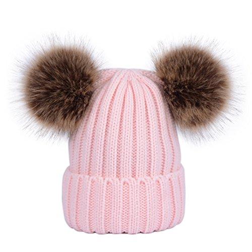 Lau's Damen Gerippte Strickmütze Warme Wintermütze Beanie Mützen mit zwei Kunstfell Bommel Pink (Grobstrick-mütze)