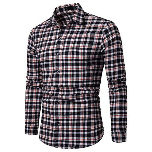 Herren Business Casual Fashion Plaid Langarm-Einreiherhemden (XXL, Schwarz)