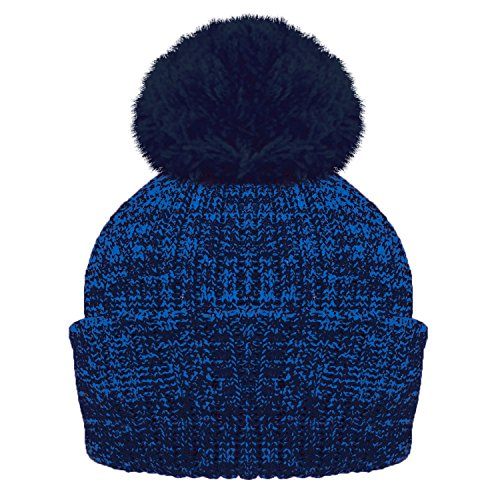 f4a0e4be8 ROCKJOCK Ladies Marl Chunky Knit Bobble Hat with fleece Thinsulate  lining-BLUE MARL