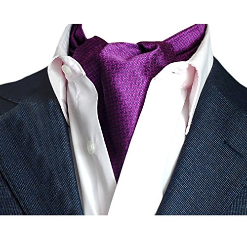 Ascot-schal (YCHENG Herren Krawattenschal Elegant Blumenkleid Ascot Seidenschal Paisley Jacquard Anzug Zubehör Violett 100-135cm)