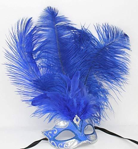 Damen Blau und Silber Venezianischen Masquerade Partei Karneval Maske mit Lange Federn