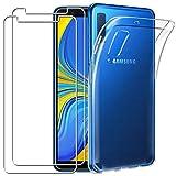 YOOWEI Coque Samsung Galaxy A7 2018 Transparente+ [2 Pack Verre trempé écran Protecteur], Transparente Silicone en Gel TPU Etui Coque de Protection Housse Antichoc Cover pour Samsung Galaxy A7 2018