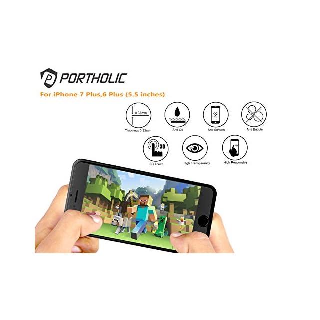 Protection d?écran iPhone 7 Plus,iPhone 6/6s Plus,PORTHOLIC [2 unités] [Anti-éclatement] Verre Trempé, 5.5pouces, Epaisseur 0.33mm, Compatible 3D Touch, Anti-bulles, Anti-empreintes et Résistant aux Rayures
