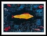 Paul Klee Poster Kunstdruck Bild Der goldene Fisch 80x60cm mit Alu Rahmen in schwarz - Kostenloser Versand