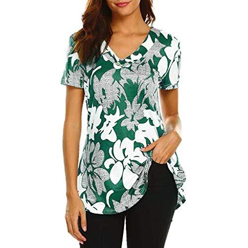 Frauen Paisley gedruckt Kurzarm Henley V-Ausschnitt Plissee Casual Flare Tunika Bluse Shirt -