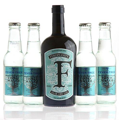 FERDINAND'S Saar Dry Gin (0,5l, 44% vol.) & 4 x FEVER TREE Mediterranen Tonic Water SET - 60 Ct Flasche