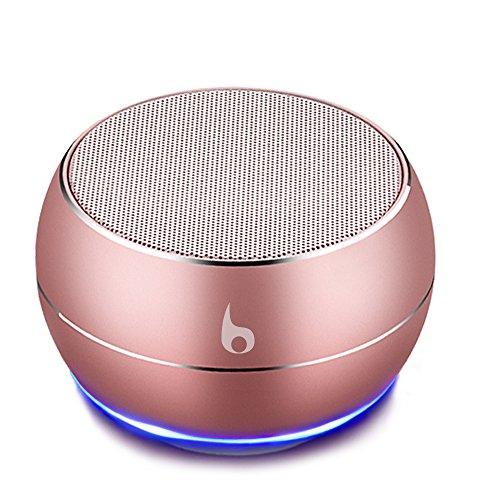 OKE Mini Bluetooth Lautsprecher, Kabellos Tragbar Bluetooth Musikbox, Stereo Klang mit tiefem Bass, Metal Gehäuse, eingebautem Mikrophone für Freisprechen, AUX und MikroUSB Kabel, unterstützt Micro SD Karte (Rosa Gold)