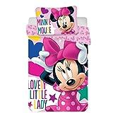 JF Disney Baby Minnie Mouse Baby Bettwäsche 100x135 cm, Kissen 40x60 cm 100% Baumwolle (Minnie Lovely)