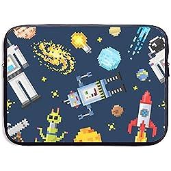 Space Background Alien Spaceman Bolsa para computadora portátil de 15 Pulgadas Bolsa con Cremallera portátil Bolsa para computadora portátil Bolsa para Tableta