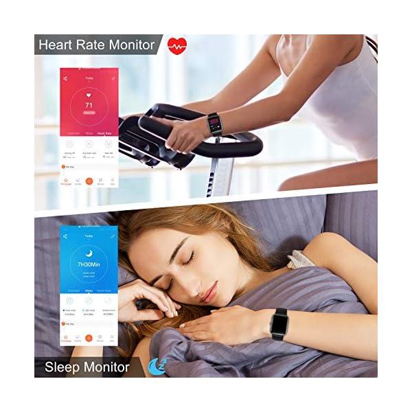 TOOBUR Smartwatch, IP68 Impermeable Reloj Inteligente con Pulsómetro, 1.3 Pulgada Pulsera Actividad Inteligente con… 4