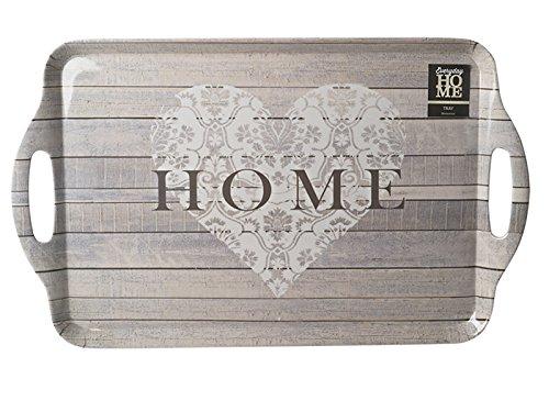 Creative Tops Everyday Home Plateau avec Inscription « Home », Gris, Grand Format