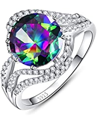 Bonlavie Women's 8* 8mm 3.2ct Heart Cut Mystic Created Rainbow Topaz Cubic Zirconia 925 Sterling Silver Engagement Ring