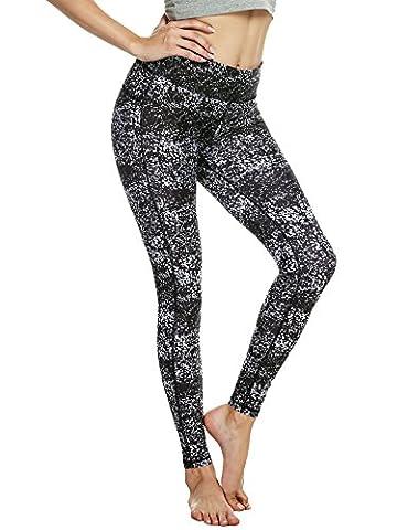 Ekouaer Women's Sports Pants Active Printed Yoga Leggings(Black White,Small)