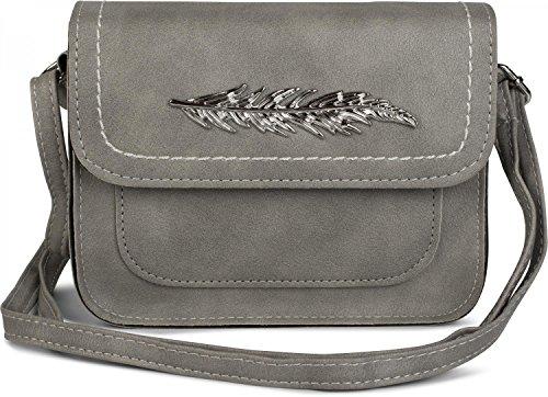 styleBREAKER kleine Umhängetasche mit Feder Applikation am Überschlag, Schultertasche, Tasche, Damen 02012151, Farbe:Hellgrau (Pochette Designer-handtaschen)