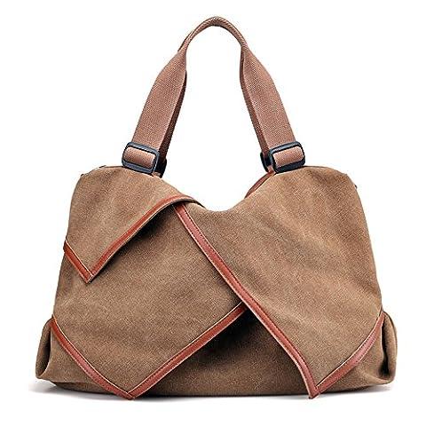 LOSMILE Damen Umhängetasche Canvas Handtasche Schultertaschen Kuriertasche Henkeltaschen Handgelenkstaschen Shopper Tasche. (Kaffee)