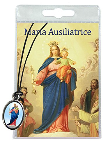 Medalla María Auxiliadora con cordón y oración en italiano