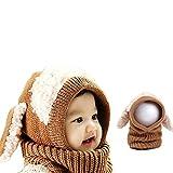 Bonice Inverno a Maglia di Lana Berretti Fox Cappelli Neonate Scialli con  Cappuccio Cowl Beanie Bambino b9236743645b