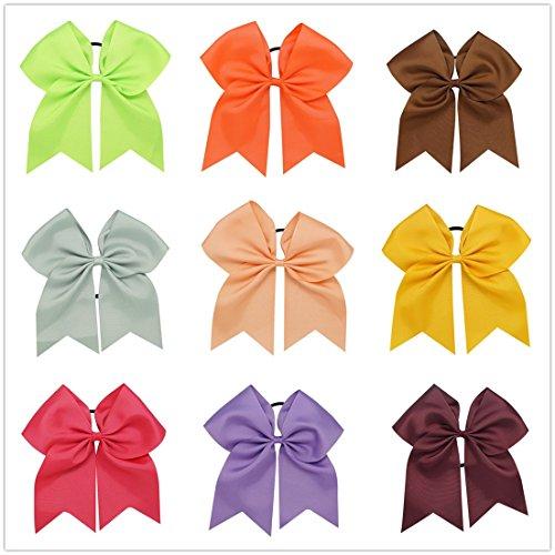 """8""""Grande sólido lazo Ponytail Holders para niñas disfraz Match Cheer equipo accesorio para el pelo"""