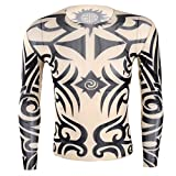 Freebily Männer Tattoo-Pullover Tattoo Shirt Herren Langarm T-Shirt für Party, Kostümparty D One Size