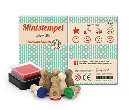 Ministempel - 8 Stück - nicht nur für Lehrer als Belohnungsstempel; Holz Stempel Set zum Verschönern von Einladungskarten, Briefen, Tischkarten, Geschenken und vielem mehr