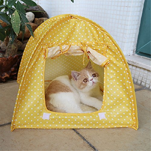 DaDago Faltbare Pet Cat Tent Playing Bed House Kitty Camp Waterproof Outdoor Dog Kennel - Gelb -