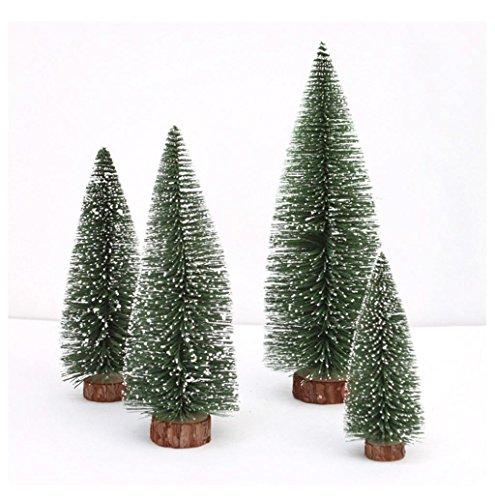 Xshuai Mini arbre de Noël bâton Cèdre Blanc Bureau Petit arbre de Noël Vacances Cadeau pour fête de mariage Décoration de Noël, Green, 10 cm