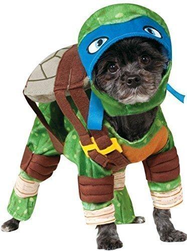 Turtle-outfit (Haustier Hund Katze Teenage Mutant Ninja Turtles Halloween Film Cartoon Kostüm Kleid Outfit Kleidung Kleidung - Blau (Leonardo), Small)