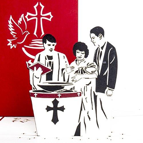 3D Pop Up Karte zur Taufe - Taufkarte für Jungen & Mädchen, edel ausgefallene Pop Up Karten als Geschenk, Gutschein, Einladungskarte, Dekoration & Geldgeschenk