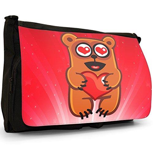 STAR STRUCK Love Animali Grande borsa a tracolla Messenger Tela Nera, scuola/Borsa Per Laptop Bear Holding Red Love Heart